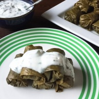 Stuffed Grape Leaves with Goat Milk Yogurt and Mint Sauce