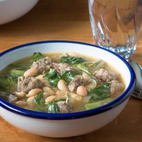 Escarole, Sweet Italian Sausage, and Cannellini Bean Soup