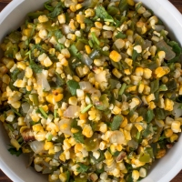 Warm Roasted Poblano Peppers and Sweet Corn Salsa