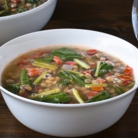 Dandelion and Lentil Soup with Tomato