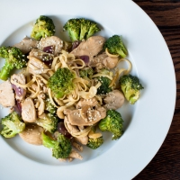 Broccoli Teriyaki Stir-Fry with Cashews, Chicken and Linguini