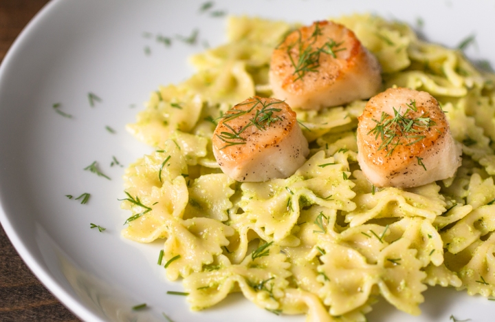 based pesto is perfect on pasta, with or without seafood! Bowtie pasta ...