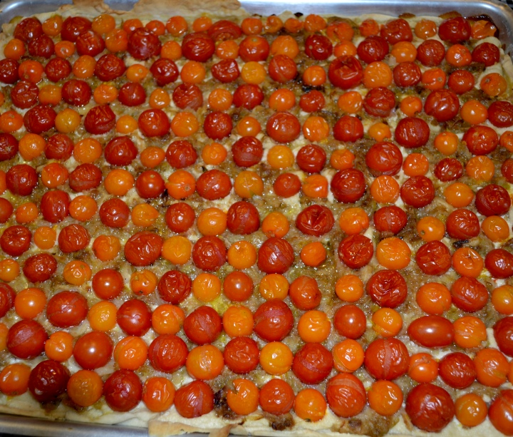 Tomato tart hot out of the oven