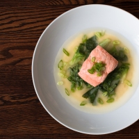 Escarole, Scallions and Salmon in Miso Dashi Broth