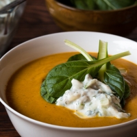 Spicy Garam Masala Roasted Cauliflower and Carrot Soup with Tatsoi and Cucumber-Mint Raita