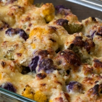 Romanesco and Cauliflower Gratin with Swiss/Gruyere Cauliflower Mornay Sauce