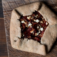 Caramelized Spring Onion and Roasted Tomato Herbed Galette with Greek Feta