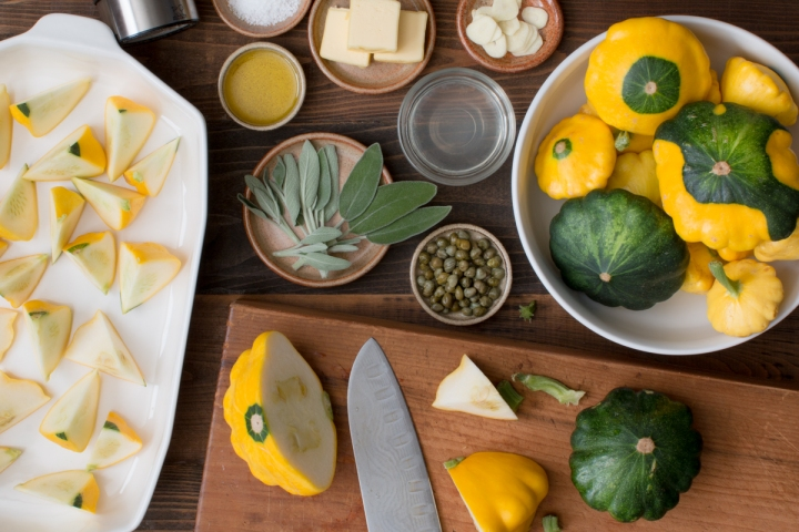Miz for roasted patty pan squash with sage butter, Florida meyer lemon juice and capers lr-8102