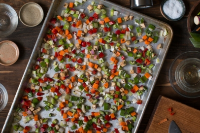 Prep done for roasted veggies for stuffed cabbage leaves lr-7749