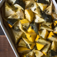 Roasted Patty Pan Squash with Sage, Florida Meyer Lemon Juice, and Capers