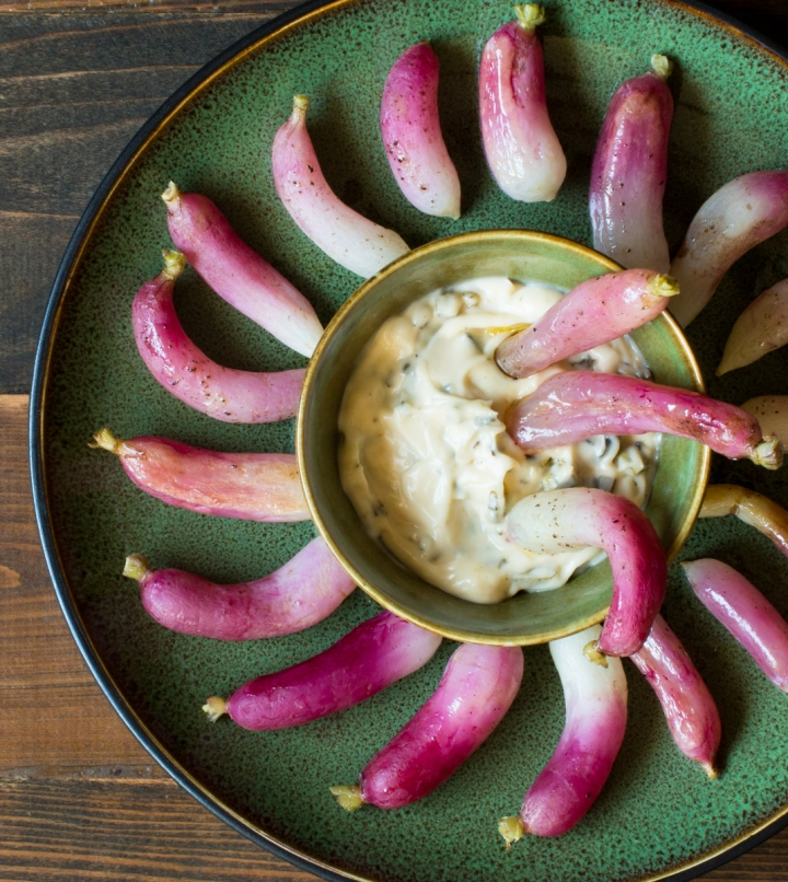 Rob's baked radishes with roasted scallion and garlic aioli lr-7551-3