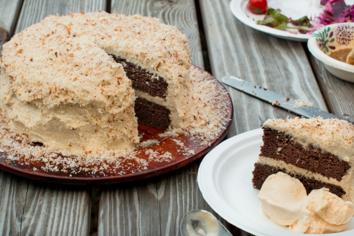 Dutch chocolate beet cake with coconut cream and cashew butter icing lr-8396