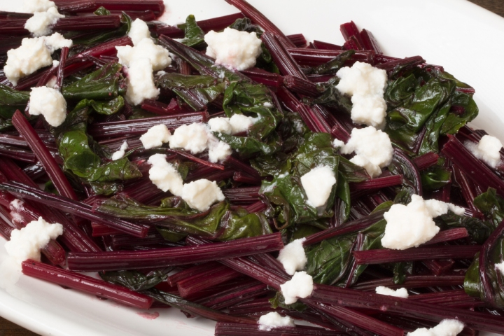 Sauteed beet greens with orange muscat champagne vinaigrette and Greek feta lr-8146